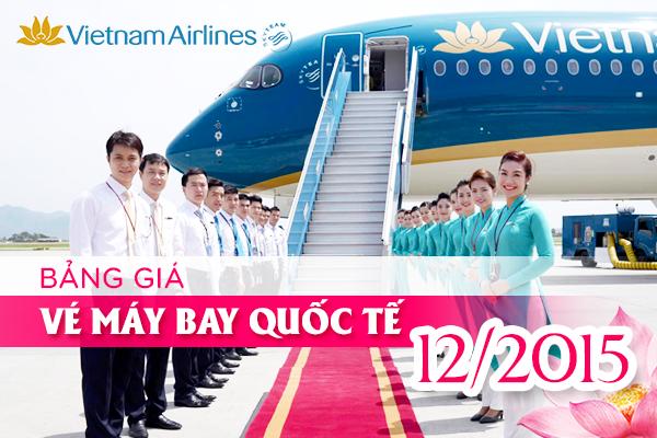 Giá vé máy bay Vietnam Airlines quốc tế tháng 12/2015