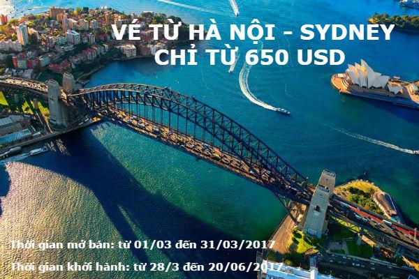 nhanh tay san ve tu Ha Noi - Sydney khu hoi chi tu 650USD