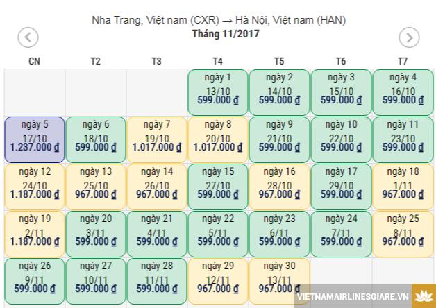 Vé máy bay Nha Trang Hà Nội tháng 11