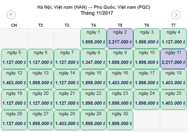 Vé máy bay Hà Nội Phú Quốc