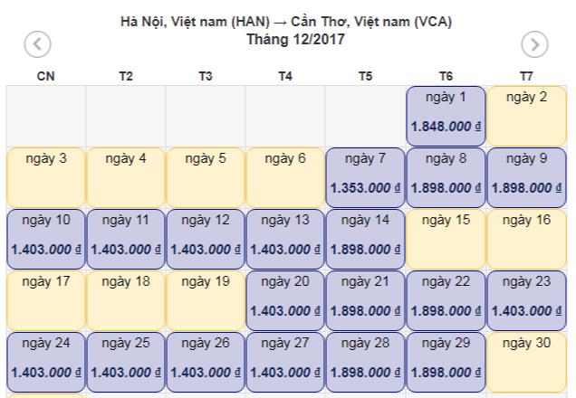 Vé máy bay Hà Nội Cần Thơ