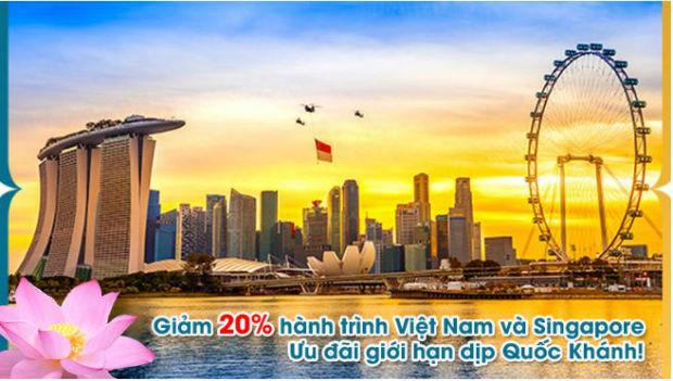 Vienam Airlines giảm 20% đi Singapore nhân ngày Quốc khánh