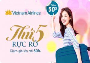 Sale 50% các chặng bay nội địa Vietnam Airlines duy nhất vào thứ 5
