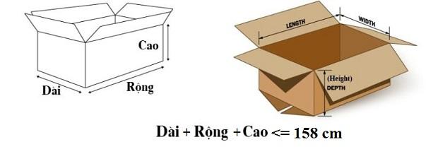 kích thước thùng hành lý ký gửi đi Mỹ