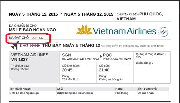 kiểm tra chuyến bay Vietnam Airlines