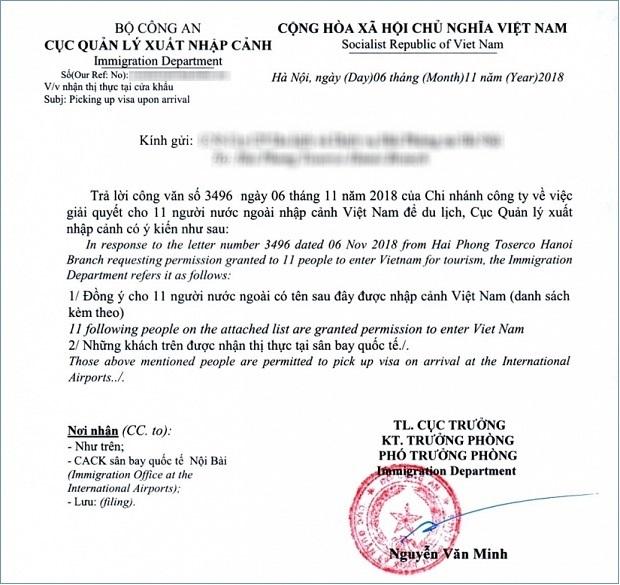 giấy bảo lãnh cho người nước ngoài tạm trú