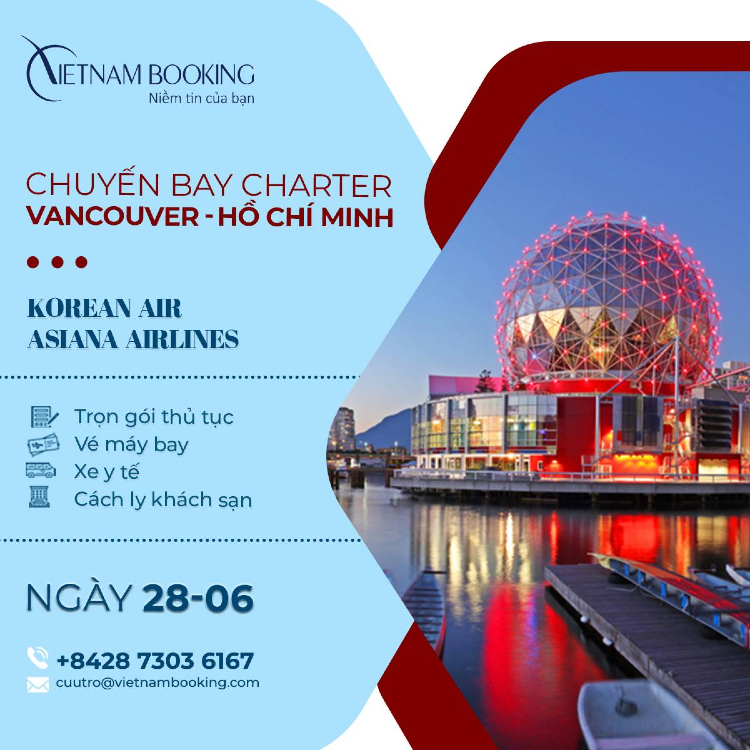 Chuyến bay charter từ Vancouver về Việt Nam